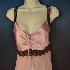 Vintage lingerie pink black lace L